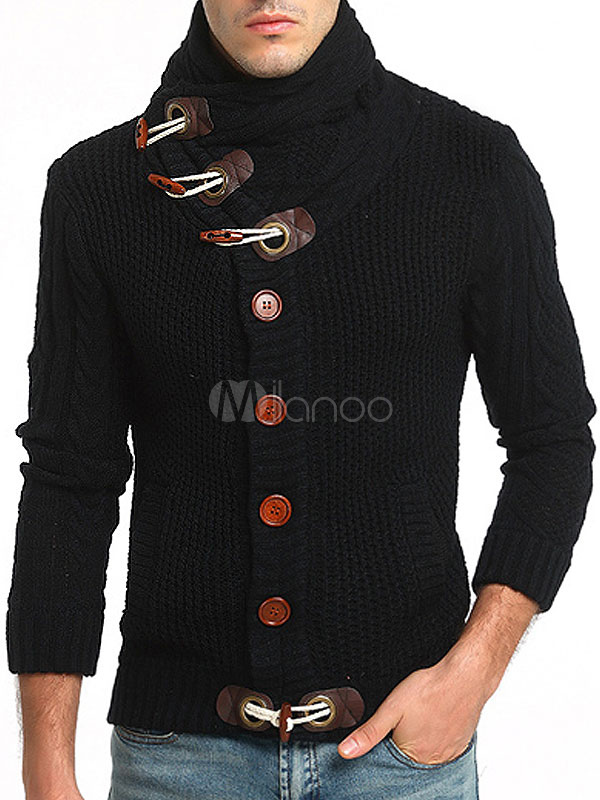 Black Men's Cardigan Long Sleeve Designed Neck Regular Fit Sweater
