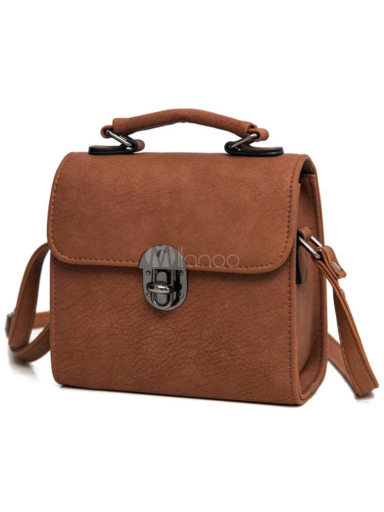 Brown Women's Handbags PU Horizontal Front Button Shoulder Bags