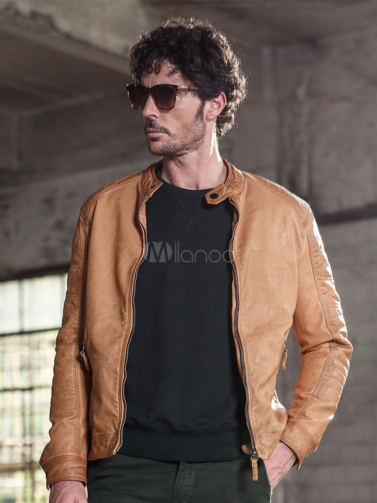 Buy Men Leather Jacket Light Tan Windproof Jacket Stand Collar Long Sleeve Front Zip Motorcycle Jacket for $71.24 in Milanoo store