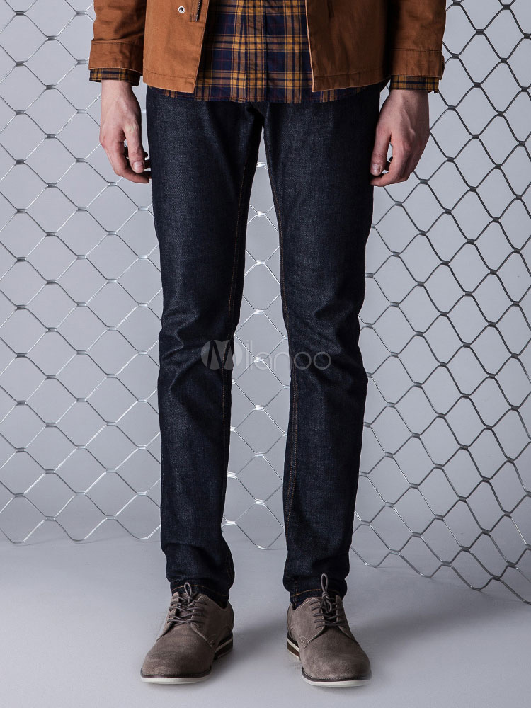Buy Blue Denim Jeans Long Straight Mens Jeans Pants for $53.54 in Milanoo store