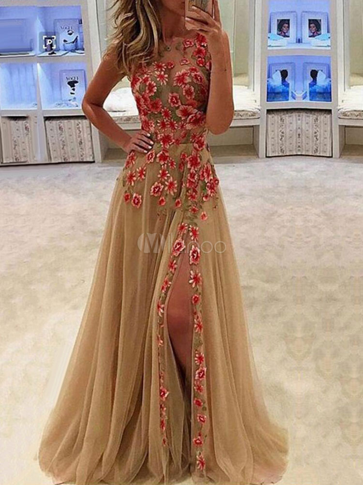 Beige Long Dress Round Neck Sleeveless Tulle Embroidered Split Party Dresses For Women