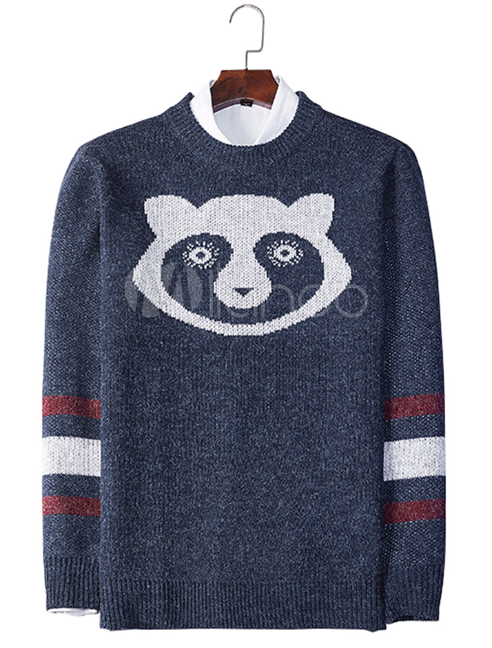 Buy Men Sweater Deep Blue Round Neck Long Sleeve Casual Sweater Wool Knit Sweater for $22.49 in Milanoo store