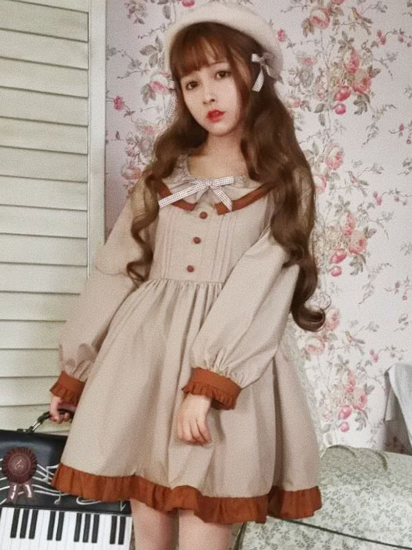 Buy Classic Lolita OP One Piece Dress Khaki Scoop Neck Long Sleeve Two Tone Bows Lolita Dresses for $44.99 in Milanoo store