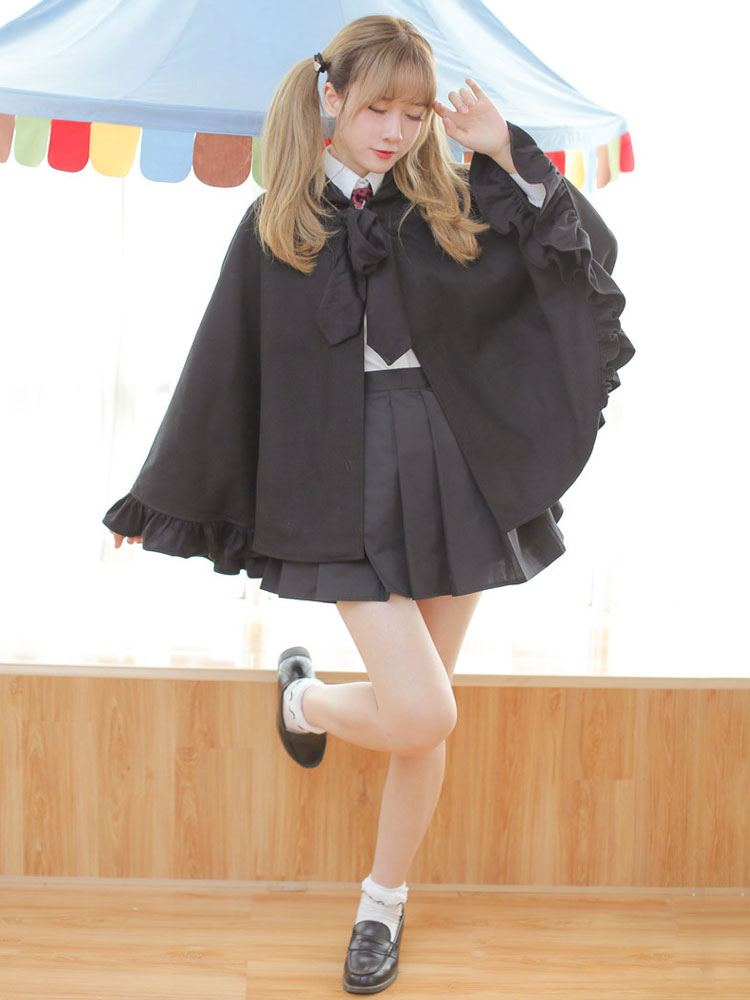 Buy Gothic Lolita Poncho Hooded Long Sleeve Ruffles Black Lolita Cape Coat for $83.99 in Milanoo store