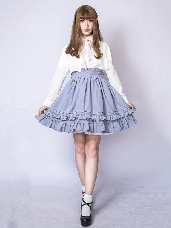 Classic Lolita Skirt Ruffles Illusion Blue Lolita Bottom