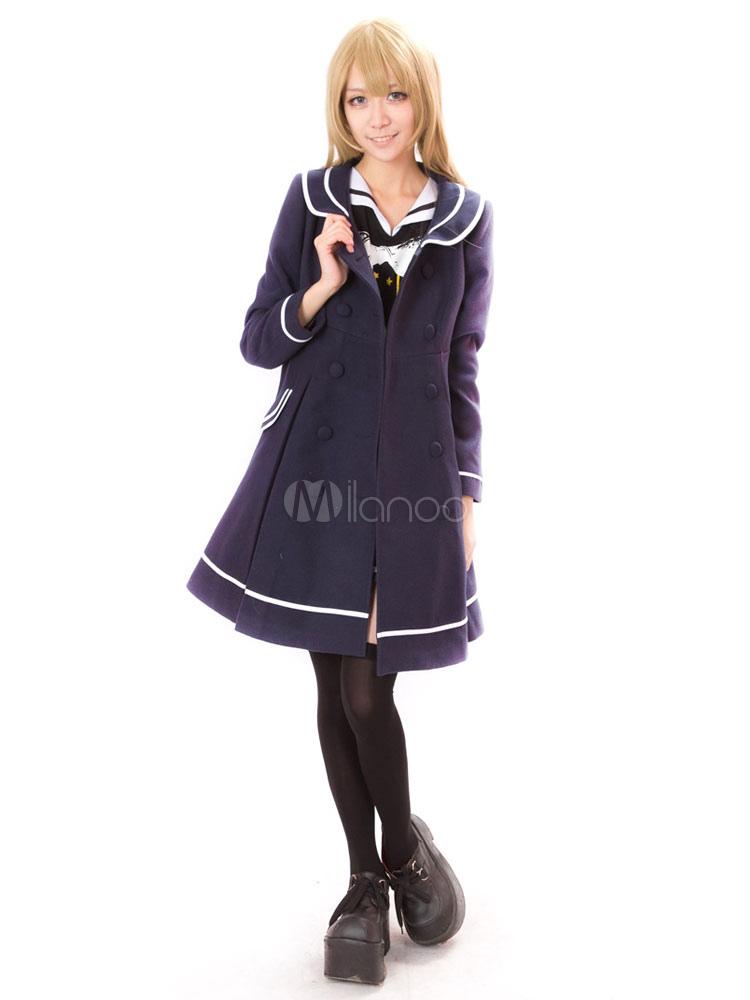 Buy Sailor Lolita Coat Long Sleeve Color Block Turndown Collar Ribbons Dark Navy Lolita Tweed Coat for $125.59 in Milanoo store