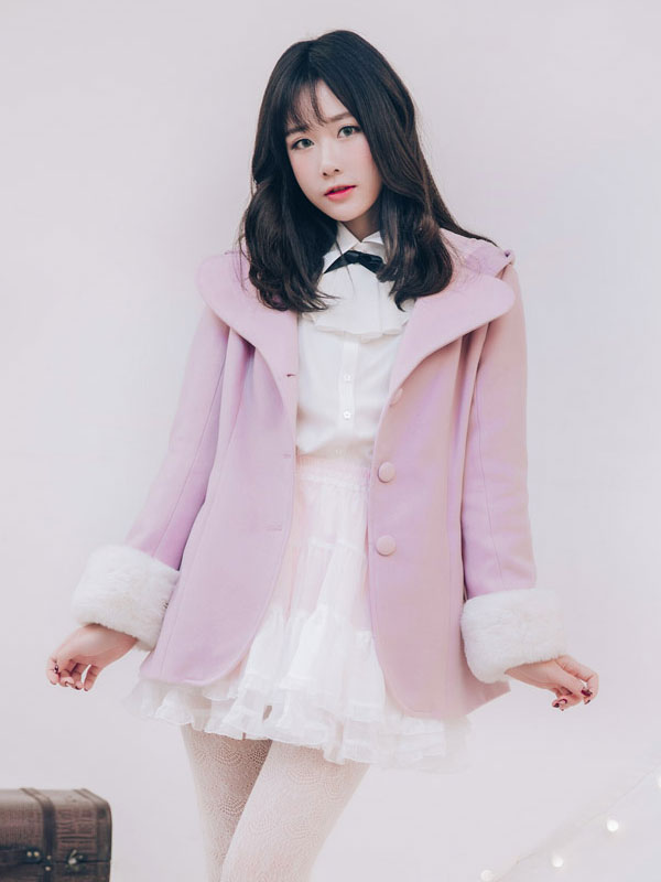 Buy Sweet Lolita Coat Hooded Long Sleeve Bows Bell Two Tone Tweed Caomo Pink Lolita Coat for $99.99 in Milanoo store