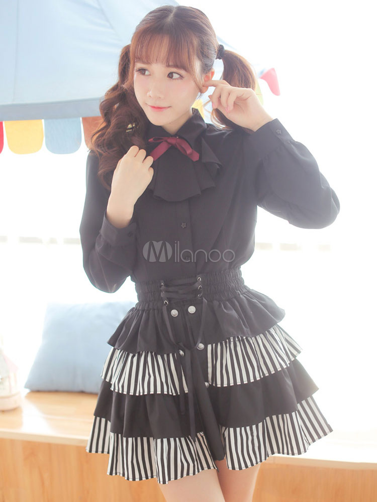 Buy Gothic Lolita Blouses Chiffon Long Sleeve Bows Pleated Turndown Collar Black Lolita Top for $55.19 in Milanoo store