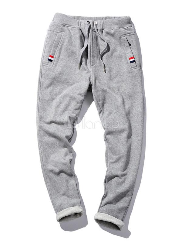 Buy Dark Navy Sweatpants Men's Drawstring Straight Leg Pants for $23.74 in Milanoo store