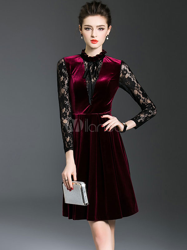 Buy Burgundy Skater Dress Long Sleeve Stand Collar Lace Ruffles Women's Dresses for $31.49 in Milanoo store