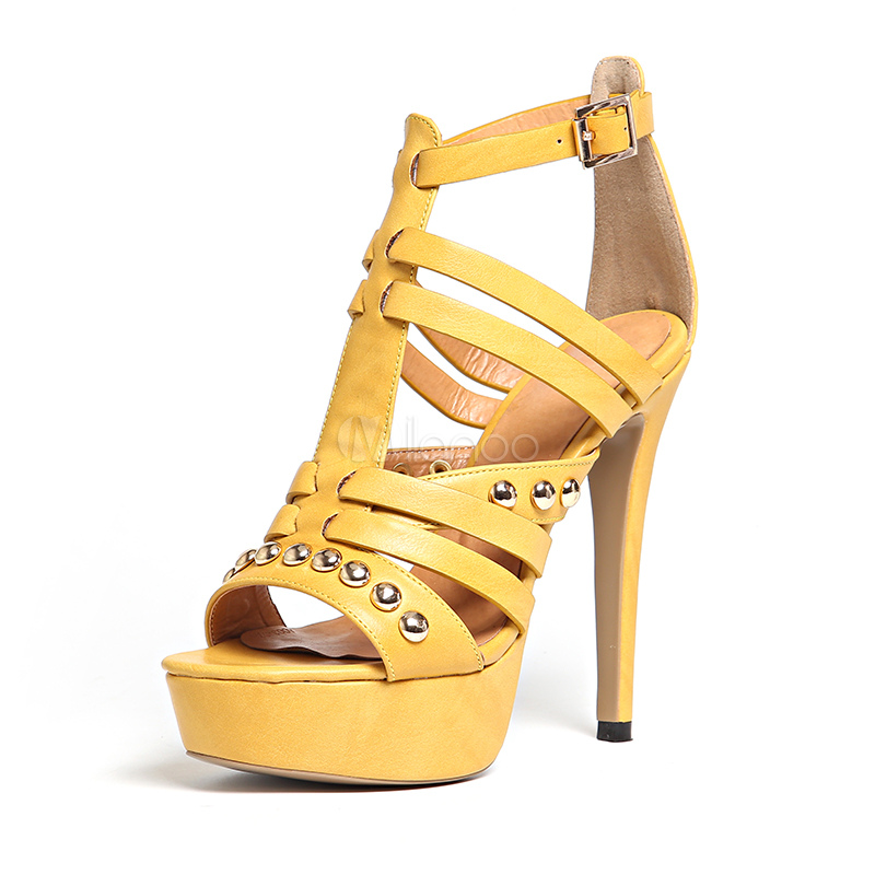 Buy High Heel Sandals Rivets Strappy Buckled Stiletto Women's Yellow Platform Sandals for $67.49 in Milanoo store