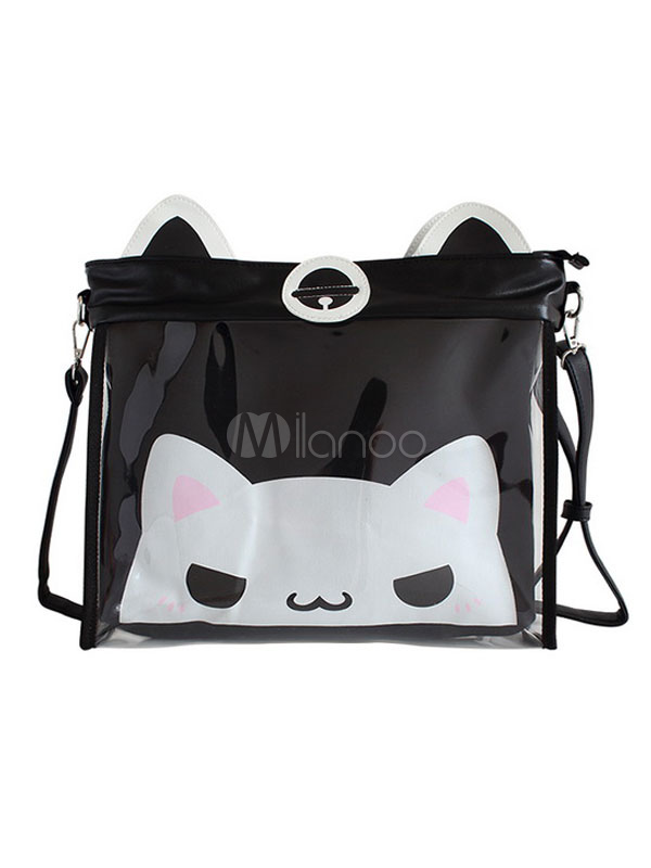 Sweet Lolita Itabag Black Cat Print Canvas PVC Lolita Shoulder Bags