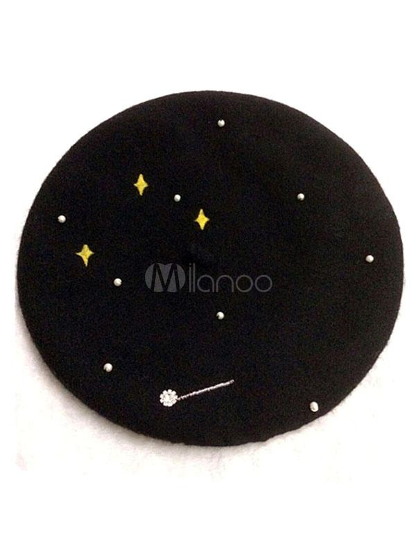 Buy Classic Lolita Baret Black Stars Beaded Wool Lolita Hat for $19.99 in Milanoo store