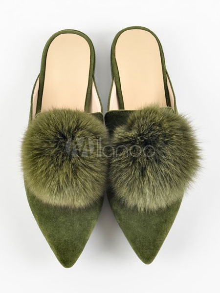 Atrovirens Women s Mules Pointed Toe Faux Fur Pom Poms Detail Backless Flat  ... 8eec5ec10