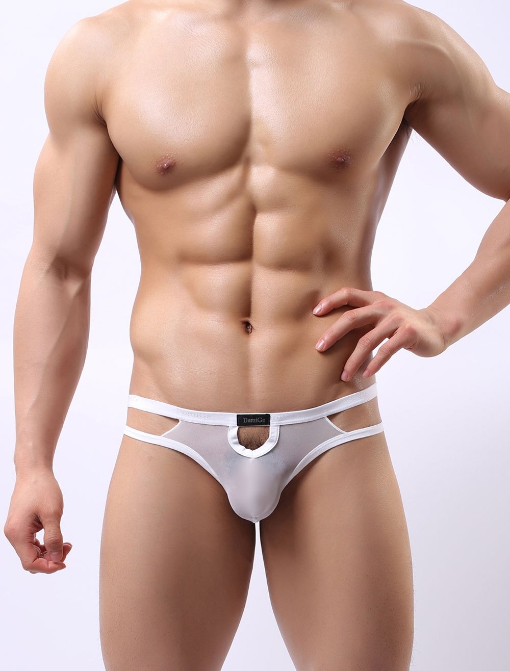 White Sexy Panties Men's Cut Out Semi-Sheer Strappy Underwear Lingerie