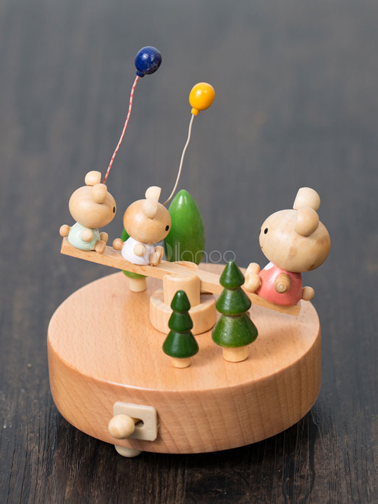 Buy Cute Music Box Little Bear Seesaw Wooden Personalized Valentines Gift 2018 For Kids for $35.99 in Milanoo store