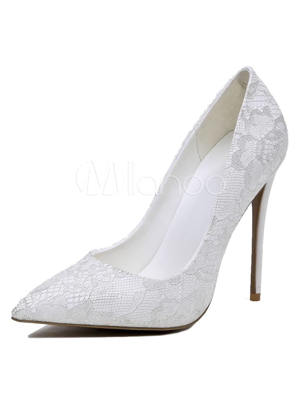 Scarpe Sposa Pizzo Bianche.Scarpe Sposa Eleganti Bianche A Punta Tacco A Fino 12cm Pizzo