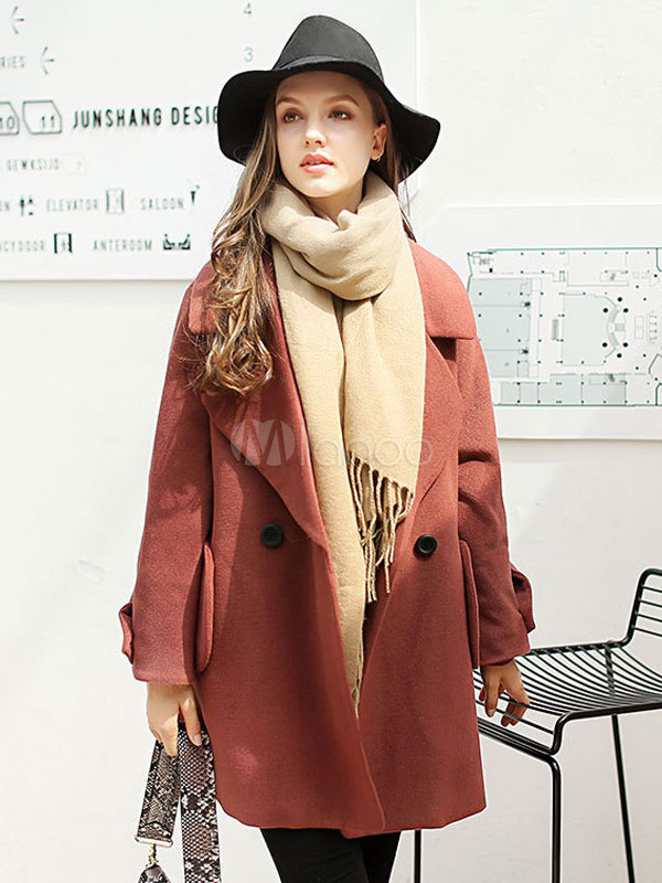 Women Peacoat Winter Long Sleeves  Brick Red Double Breasted Cocoon Coat