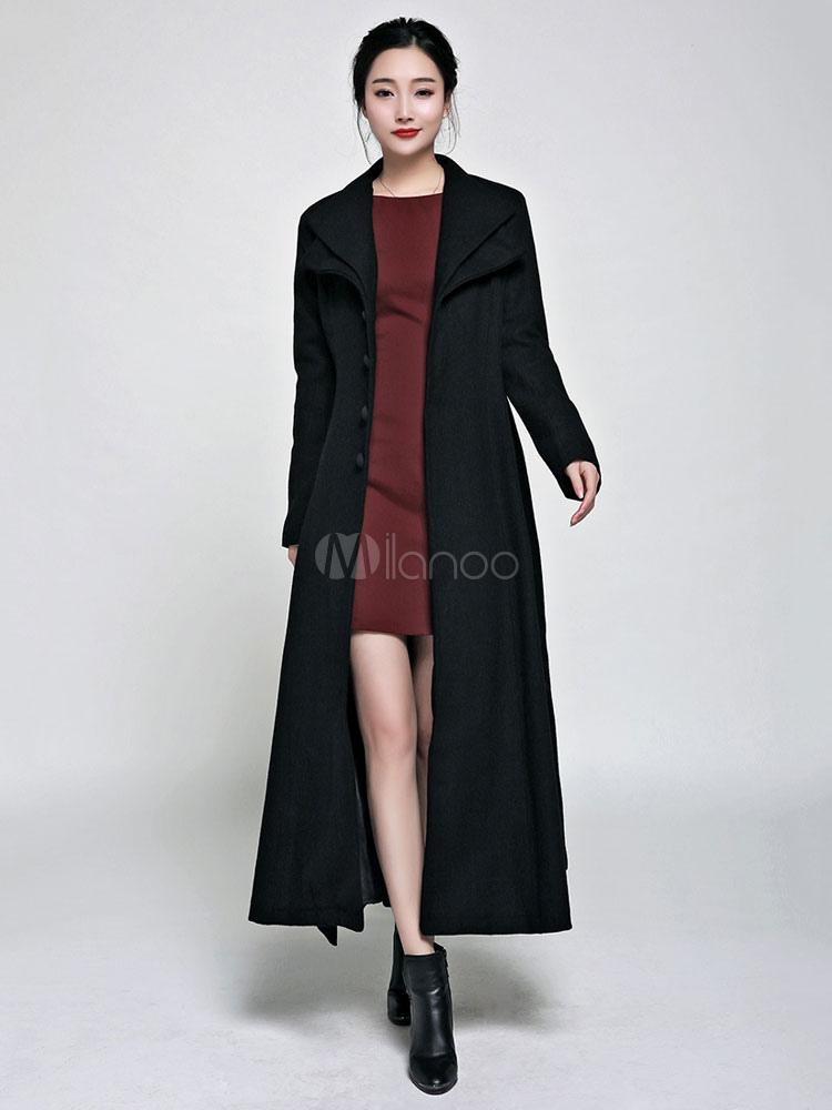 Black Pea Coat Long Sleeve High Collar Women's Wool Coats