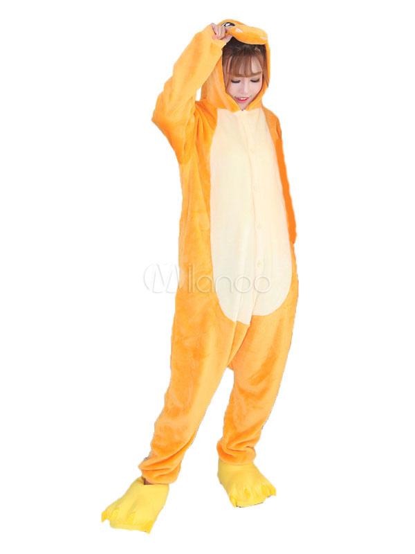 ドラゴン 着ぐるみパジャマ アダルト オレンジ色 フランネル ニューイヤー 動物 男女兼用 コスチューム ハロウィン