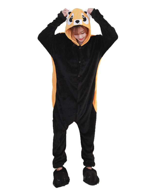 Buy Kigurumi Pajama Raccoon Brown Flannel Unisex Winter Jumpsuit With Footwear Halloween Costume Halloween for $29.99 in Milanoo store
