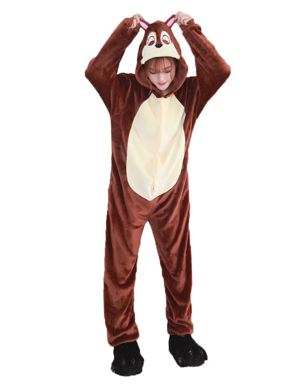 Buy Kigurumi Pajama Chipmunk Brown Flannel Unisex Winter Jumpsuit With Footwear Halloween Costume Halloween for $29.99 in Milanoo store