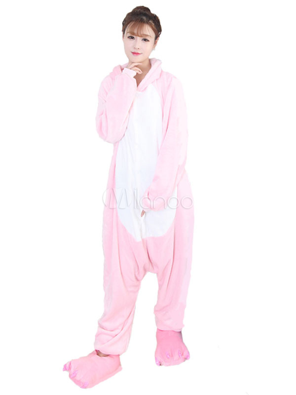 Buy Kigurumi Pajama Hippo Halloween Pink Flannel Unisex Winter Jumpsuit With Footwear Halloween for $26.99 in Milanoo store