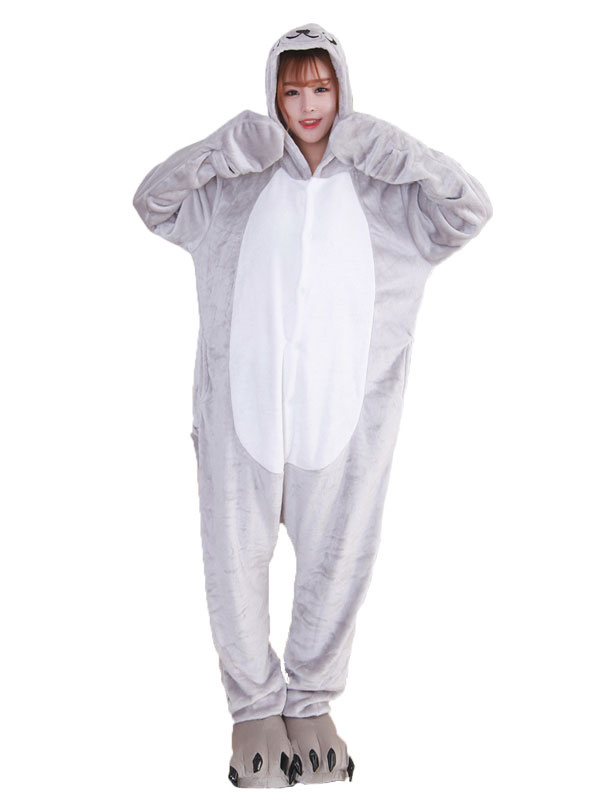 Buy Grey Sea Lion Kigurumi Pajama Halloween Flannel Unisex Winter Jumpsuit With Footwear Halloween for $26.99 in Milanoo store