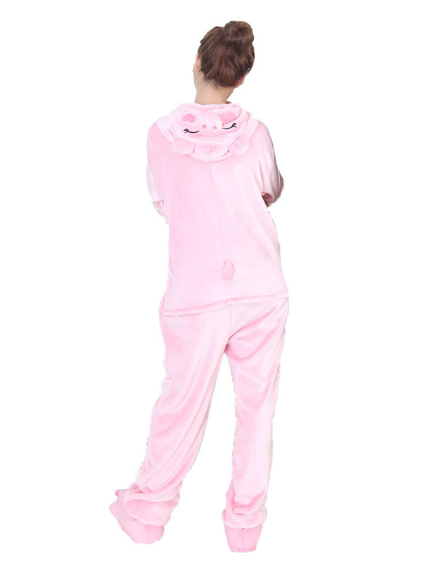 Buy Kigurumi Pajama Pig Pink Flannel Unisex Winter Jumpsuit With Footwear Halloween Costume Halloween for $29.99 in Milanoo store