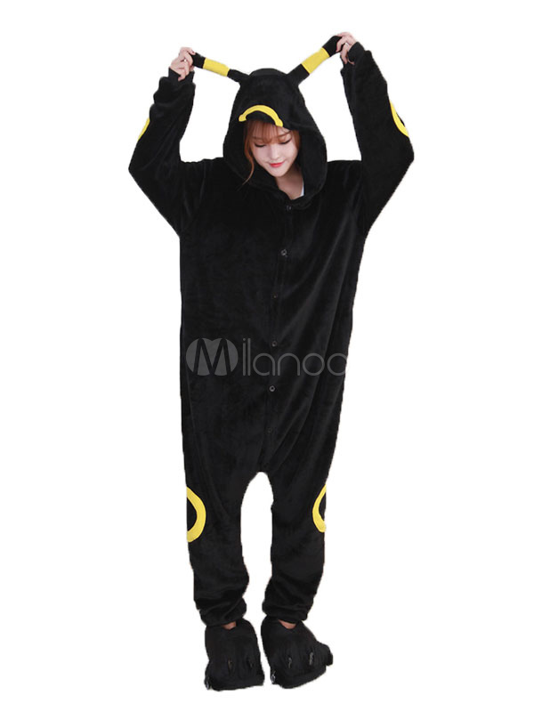 Buy Kigurumi Pajama Umbreon Halloween Black Flannel Unisex Winter Jumpsuit With Footwear Halloween for $29.99 in Milanoo store