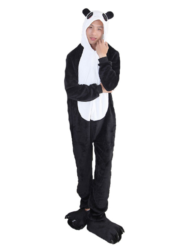 Buy Kigurumi Pajama Panda Halloween Black Flannel Unisex Winter Jumpsuit With Footwear Halloween for $29.99 in Milanoo store