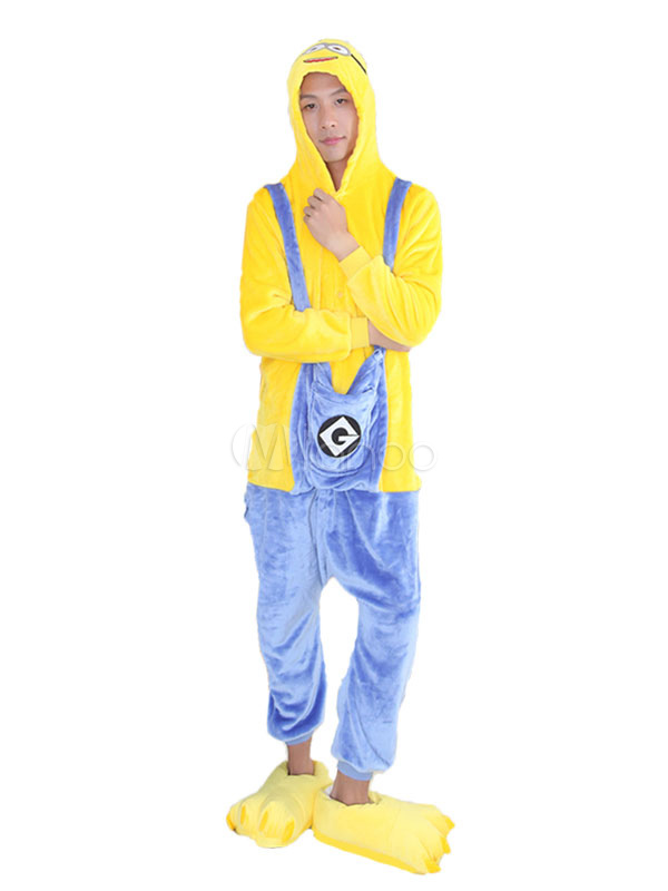 Kigurumi Pajama Minions Halloween Yellow Flannel Unisex Winter Jumpsuit With Footwear Halloween