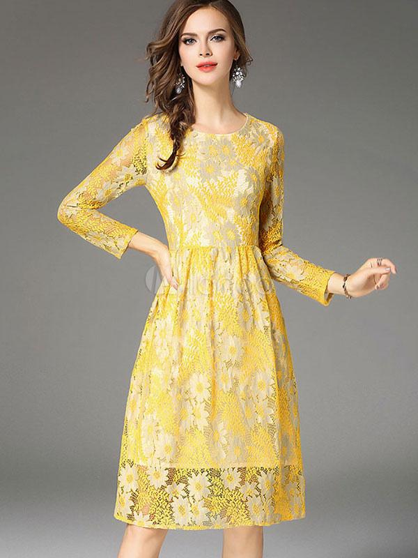 3b60762d38f Vestito in pizzo giallo di pizzo con scollo tondo maniche lunghe modellante  donna