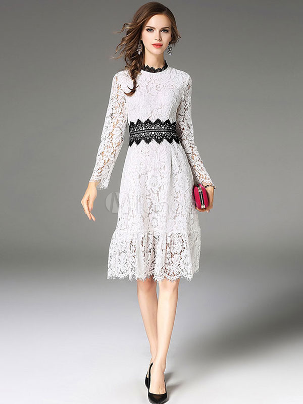 Buy White Lace Dress Round Neck Long Sleeve Two Tone Shaping Women's Skater Dresses for $44.99 in Milanoo store