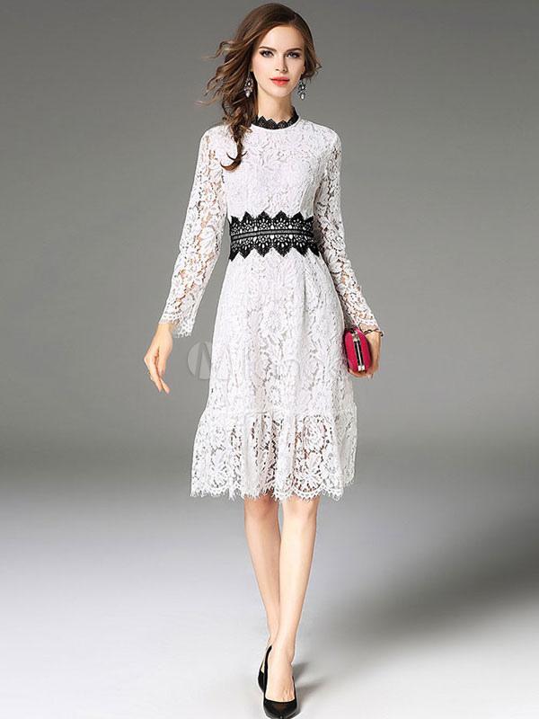 1185396de Blanco vestido de encaje cuello redondo de manga larga de dos tonos que  forman los vestidos de patinador de las mujeres
