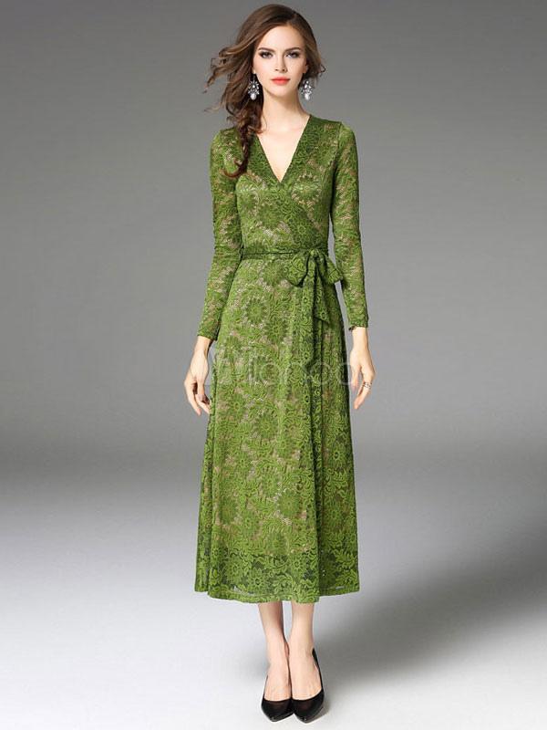 timeless design 0f430 1401f Vestito lungo di pizzo verde maniche lunghe con scollo a V monocolore a  spirale