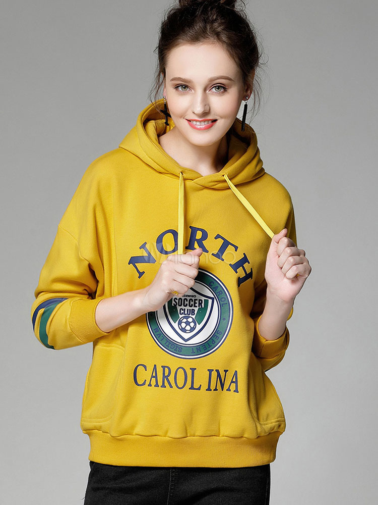 Buy Yellow Pullover Hoodie Hooded Long Sleeve Letters Printed Women's Sweatshirt for $33.24 in Milanoo store