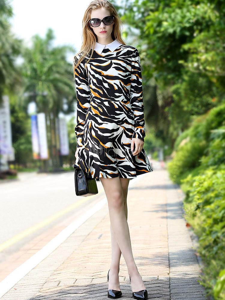 Buy Black Skater Dresses Long Sleeve Turndown Collar Animal Print Shaping Women's Short Dress for $33.24 in Milanoo store