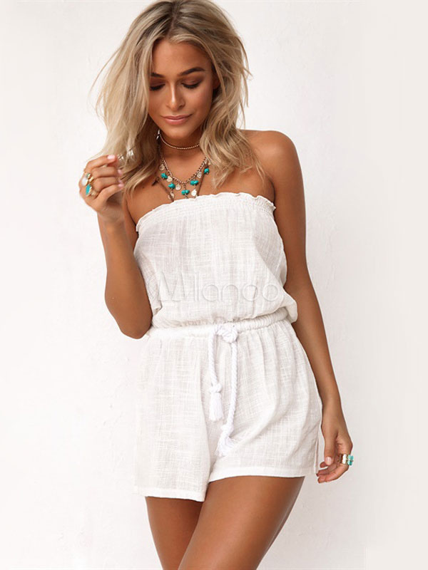 Women White Romper Sleeveless Strapless Loose Leg Cotton Romper Shorts