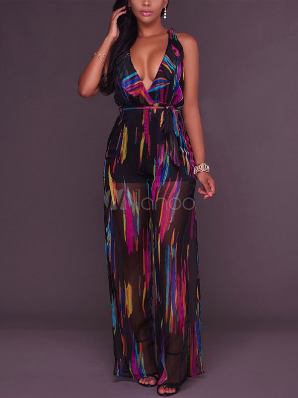 Buy Floral Romper Dress Women Backless Print Pleated Chiffon Maxi Romper for $28.79 in Milanoo store