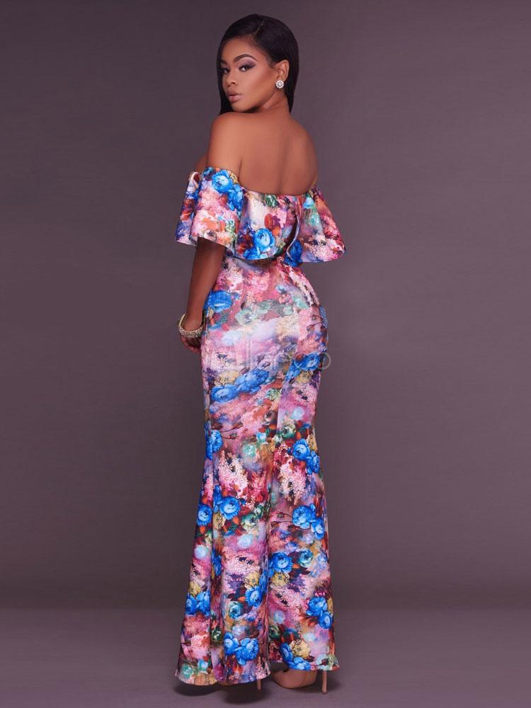 Pink Maxi vestido de las mujeres fuera del hombro media manga floral ...