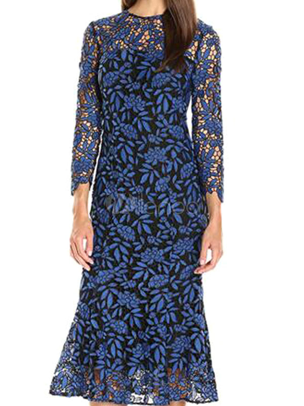 Buy Women Lace Dress Long Sleeve Round Neck Shaping Mermaid Blue Maxi Dress for $37.99 in Milanoo store