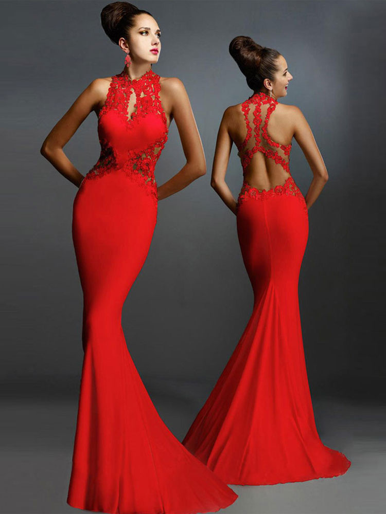 Women Red Dress Lace Sleeveless Backless Mermaid Maxi Dress Cheap clothes, free shipping worldwide