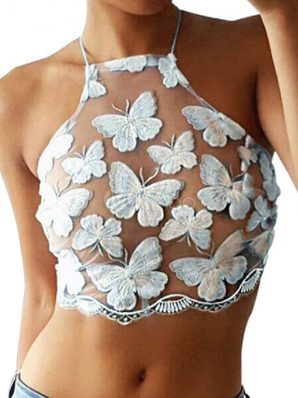 White Crop Tops Halter Sleeveless Butterfly Embroidered Women Top Cheap clothes, free shipping worldwide