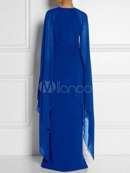 0925edffd756 ... Vestito lungo in chiffon smanicato con scollo tondo monocolore spacco  frontale -No.2 ...
