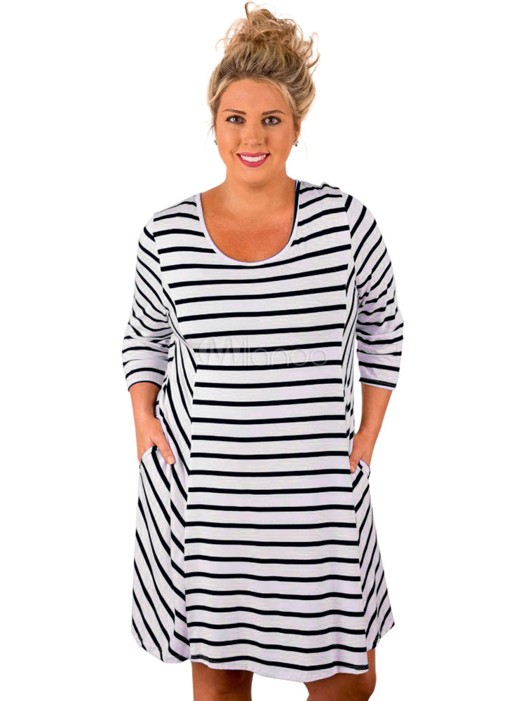 Buy Plus Size Dress Black Round Neck Long Sleeve Striped Women's T Shirt Dresses for $18.99 in Milanoo store