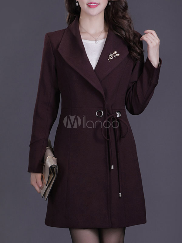 Buy Burgundy Winter Coat Long Sleeve Turndown Collar Women's Coats for $47.49 in Milanoo store