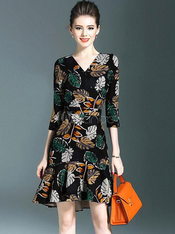 Black Bodycon Dress V Neck Long Sleeve Ruffles Leaf Print Mermaid Women s  Short Dresses- ... e16b17bc6