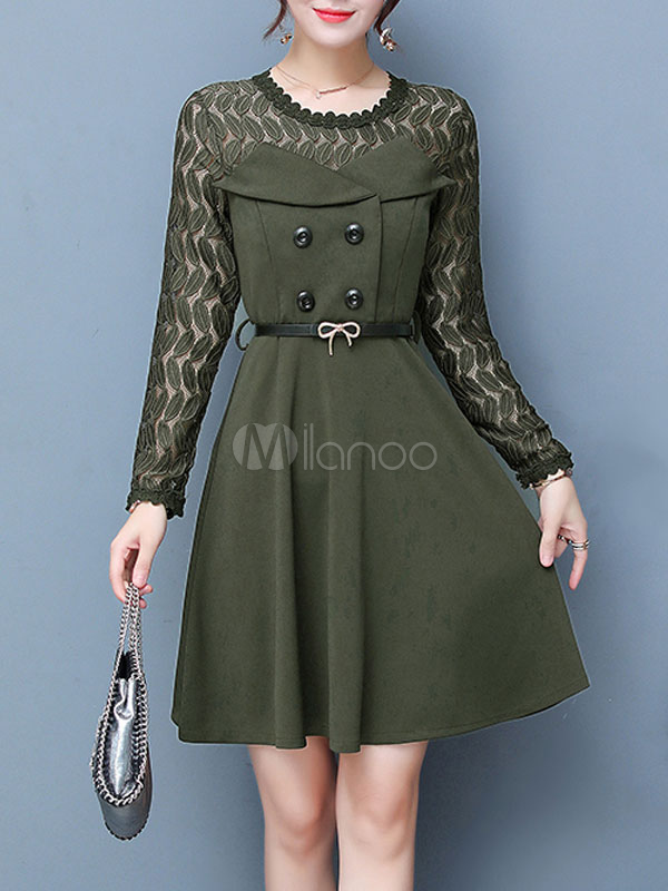 Buy Women's Skater Dress Hunter Green Round Neck Long Sleeve Patchwork A Line Lace Dresses for $28.49 in Milanoo store