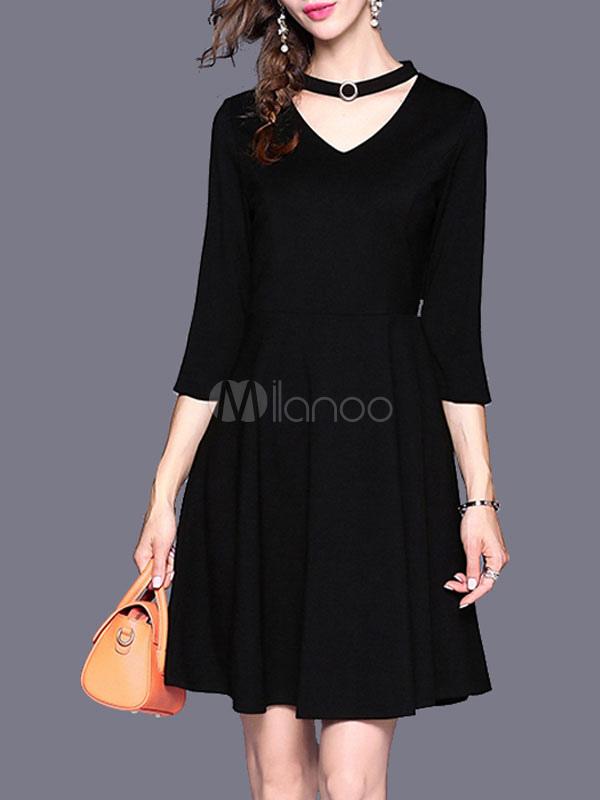 Buy Black Skater Dress V Neck Cut Out Long Sleeve Metal Details Women's Dresses for $35.99 in Milanoo store